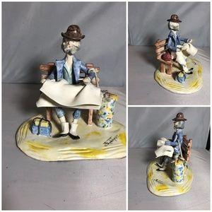 Franchesco Original Signed Figurine Man on Bench